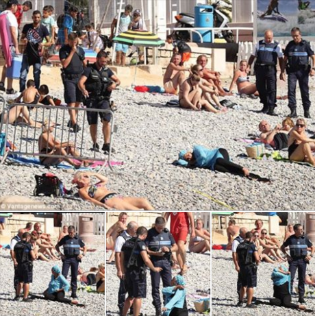 الشرطة تلاحق البوركيني على شواطئ فرنسا (الصورة من صفحة الزميل محمد وموسي)